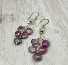 Load image into Gallery viewer, Purple Moonstone Dangle Earrings