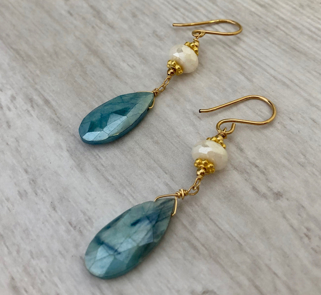 Blue Moonstone Earrings in 14K Gold Fill