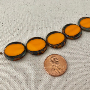 Orange Czech Coin Glass Beads