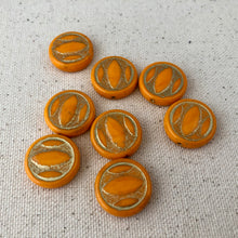 Load image into Gallery viewer, Orange Coin Czech Glass Beads