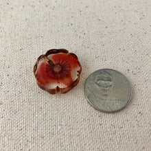 Load image into Gallery viewer, Red Hibiscus Czech Glass Window Bead
