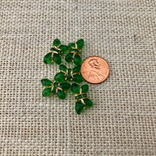 Load image into Gallery viewer, Czech Green Butterfly Table Cut Glass Beads
