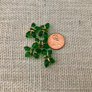 Czech Green Butterfly Table Cut Glass Beads