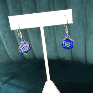 DIY Blue Czech Glass Earring Kit