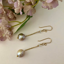 Load image into Gallery viewer, Long Dangle Bronze Pearl Earrings