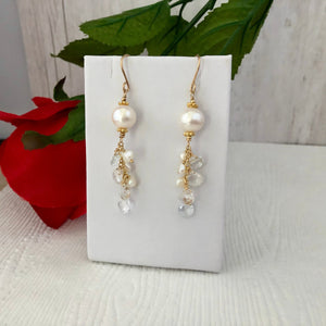 White Freshwater Pearl and White Topaz Earrings