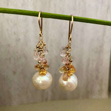 Load image into Gallery viewer, Freshwater Pearl and Sapphire Drop Earrings