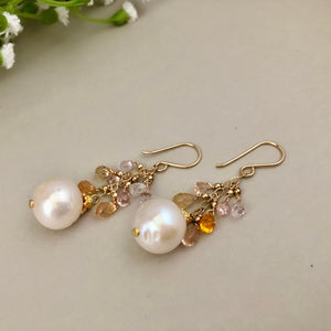 Freshwater Pearl and Sapphire Drop Earrings
