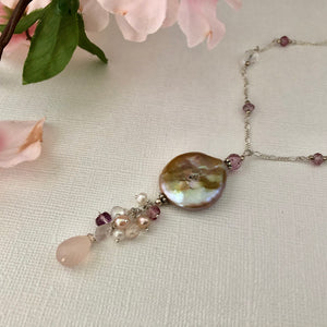 Bronze Baroque Coin Pearl Drop Necklace