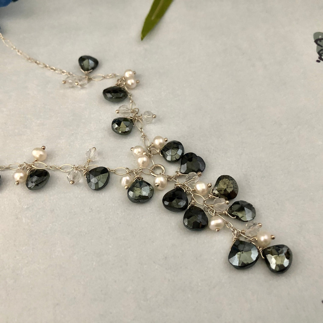 Black Moonstone Necklace in Sterling Silver