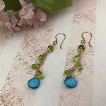 Load image into Gallery viewer, Swiss Blue Topaz and Peridot Earrings