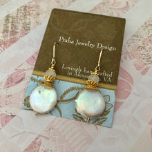Load image into Gallery viewer, Large White Coin Pearl Earrings