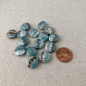 Blue Swirl Czech Glass Beads