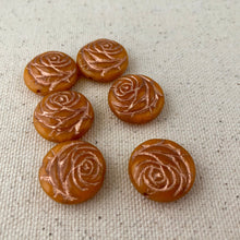 Load image into Gallery viewer, Orange Czech Coin Flower Glass Beads