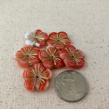 Load image into Gallery viewer, Tangerine Czech Puffed Glass Flower Beads