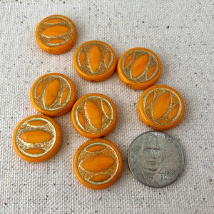 Orange Coin Czech Glass Beads