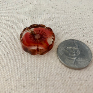 Red Hibiscus Czech Glass Window Bead