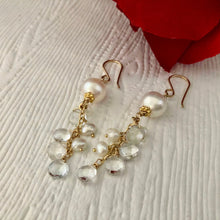 Load image into Gallery viewer, White Freshwater Pearl and White Topaz Earrings