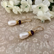 Load image into Gallery viewer, Anne Boleyn  Earrings: Freshwater Pearl and Amethyst Earrings