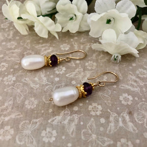 Anne Boleyn  Earrings: Freshwater Pearl and Amethyst Earrings