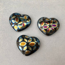 Load image into Gallery viewer, Large Czech Black Glass Heart Beads