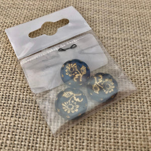 Denim Blue Czech Coin-Shape Glass Beads