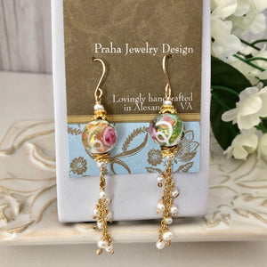 White and Pink Wedding Cake Dangle Earrings