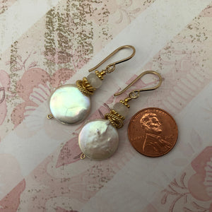 Large White Coin Pearl Earrings