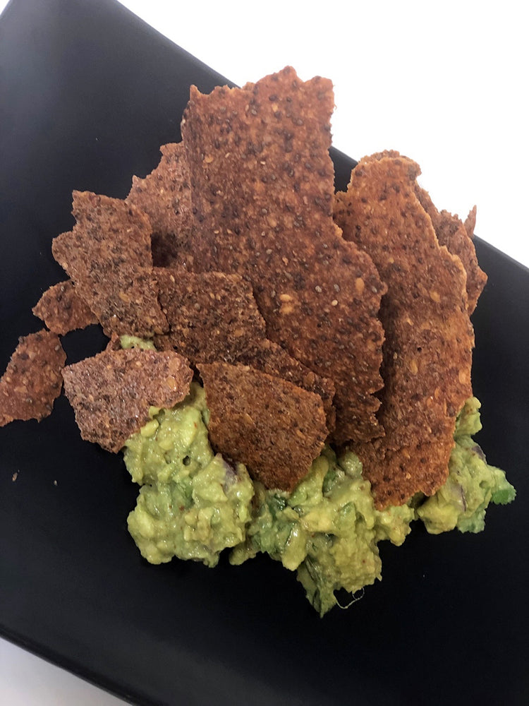 Load image into Gallery viewer, Chia Flax Chips Cumin Guacamole