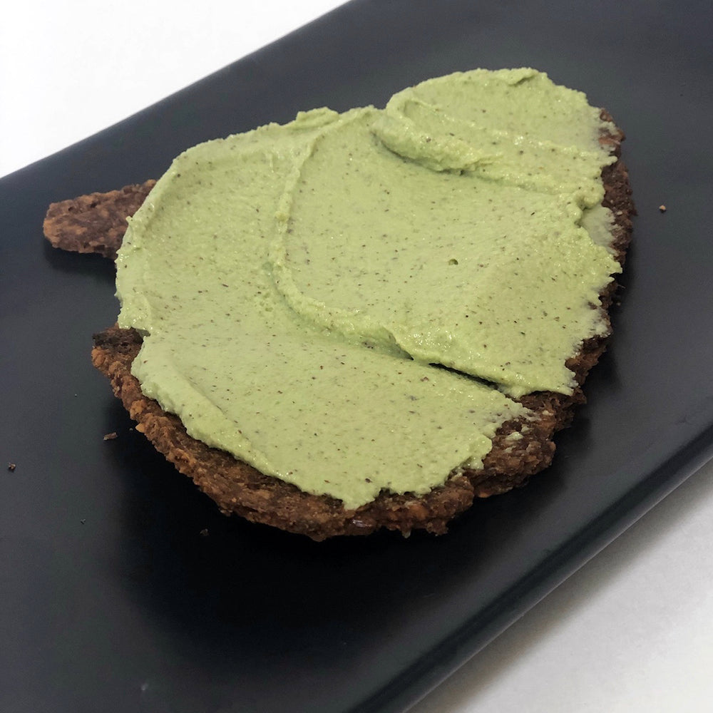 Green Nut Humus On Paleo Pizza Cracker