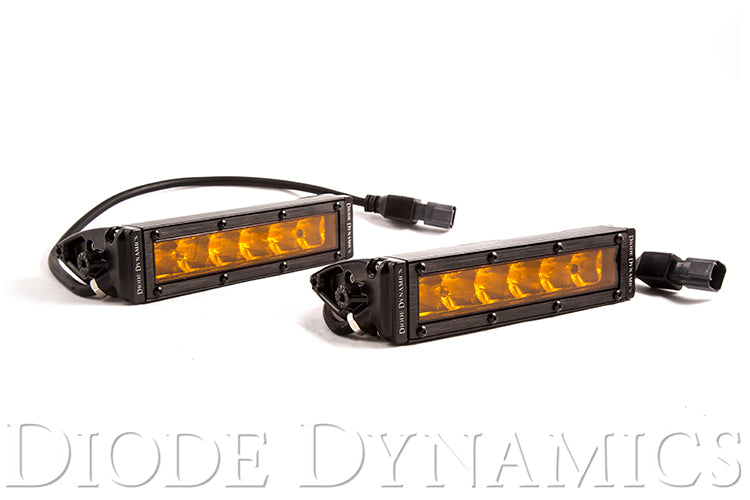 6 Inch LED Light Bar Single Row Straight SS6 Amber Driving Light Bar Pair