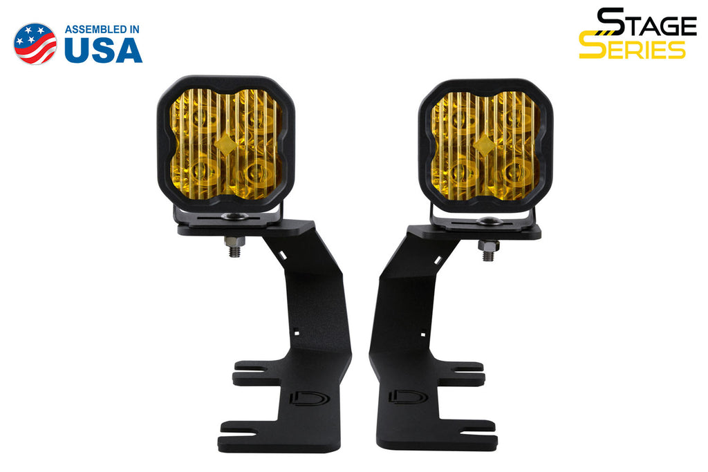 SS3 LED Ditch Light Kit for 2014-2019 Chevrolet Silverado 1500, Sport Yellow Driving Diode Dynamics