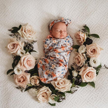 Load image into Gallery viewer, Vintage Blossom I Snuggle Swaddle & Topknot Set