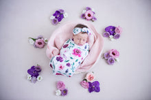 Load image into Gallery viewer, Peony Bloom I Snuggle Swaddle & Topknot Set