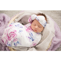 Load image into Gallery viewer, Lilac Skies I Snuggle Swaddle & Topknot Set