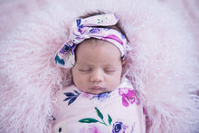 Load image into Gallery viewer, Floral Kiss I Snuggle Swaddle & Topknot Set