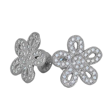 Alice Cutout Flower Diamond Stud Earrings