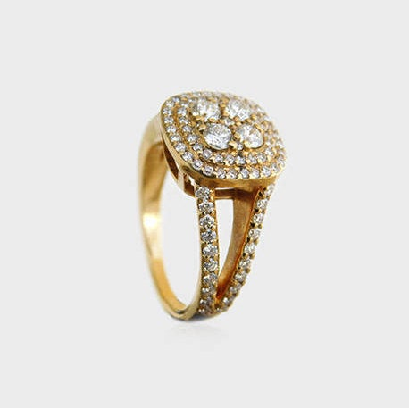 Inbal Signet Style Split Shank Diamond Ring