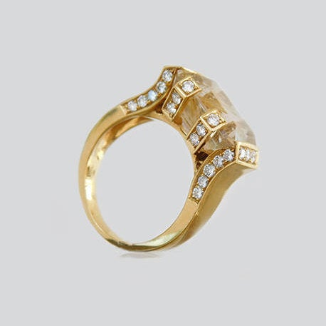 Elizabeth Signet Quartz & Diamond Ring