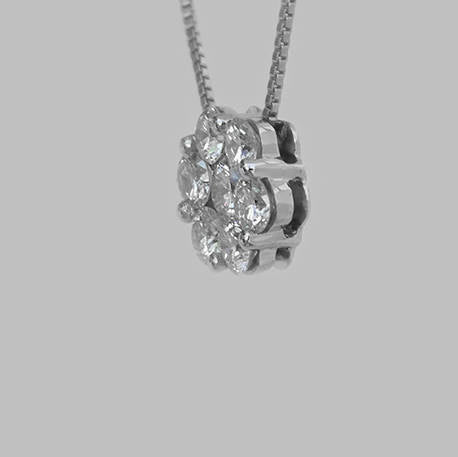 Sharon Flower Shaped Diamond Pendant