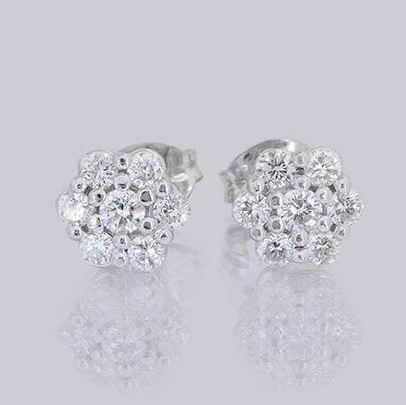 Roz Flower Diamond Stud Earrings