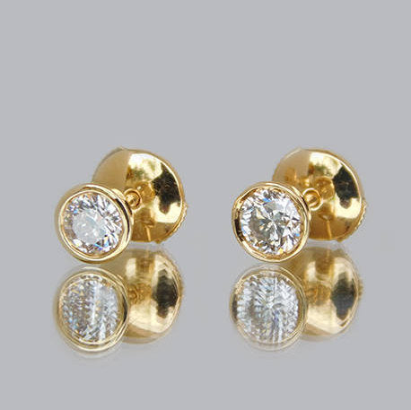 Gloria Round Diamond Stud Earrings