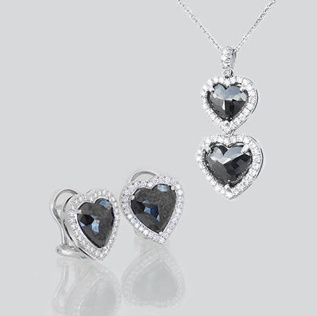 Angelica Gold Pendant and Earrings Diamond Set