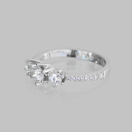 Debby Three-Stone Diamond Engagement Ring