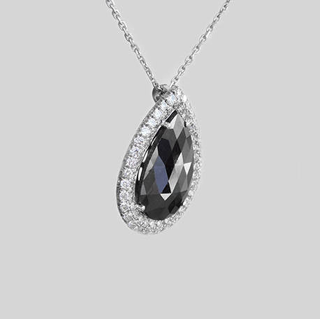 Michelle Pear Shaped Two Tone Diamond Pendant