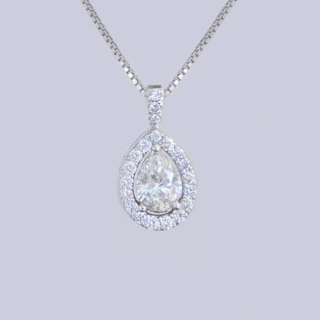 Diana White Gold Tear Drop Shaped Diamond Pendant
