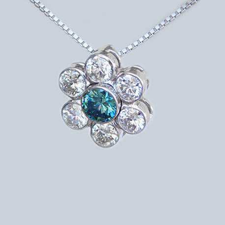 Florence Flower Shaped Diamond Pendant