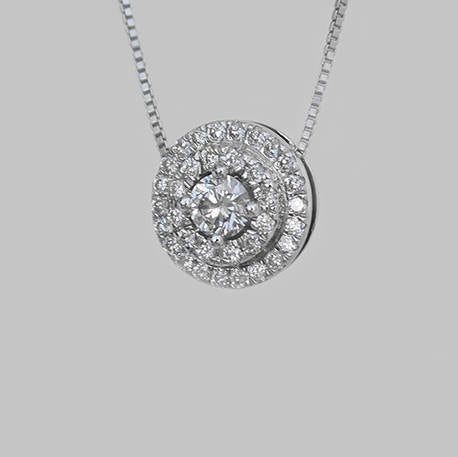 Salina Double Halo Diamond Pendant