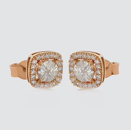 Adriana Halo Diamond Stud Earrings