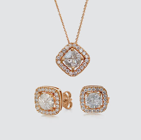 Julia Gold Diamond Pendant and Earring Set